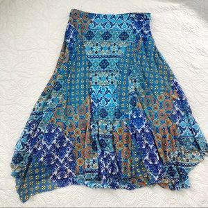 Chico's Blue Layered Handkerchief Hem Flowy Skirt